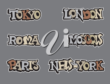 City tag set in graffiti style. Wold capital cities handwritten letterings
