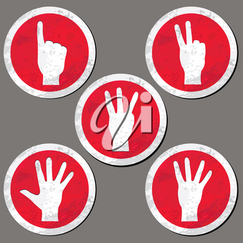 Hands set. Hand count gesture silhouettes