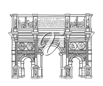 Arch isolated. Rome famous building Constantin's arch. Vector sketch.