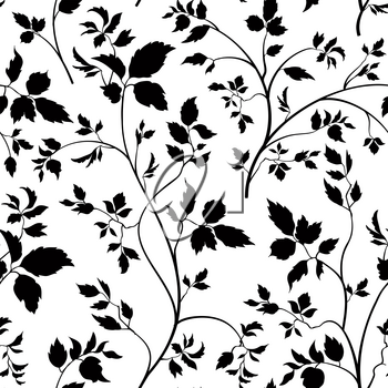 Floral seamless pattern. Branch with leaves ornamental background. Flourish nature garden texture