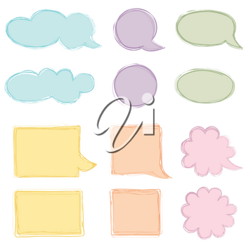 Speech bubble set. Chat icon. Paper sheet for note frame elements