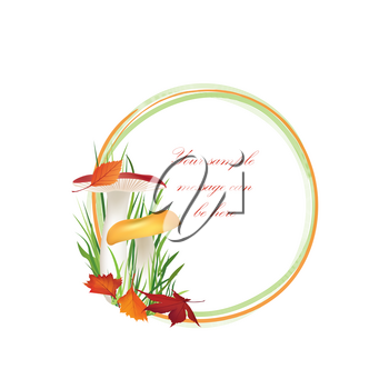Autumn frame. Mushrooms Chanterelle mushroom vector background with copy space. Floral fall border isolated on white background. Food illustration.
