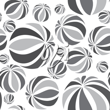Abstract geometric striped balls seamless pattern. Circular texture for wallpaper, surface or cover. Fun funky background. Black and white wallpaper