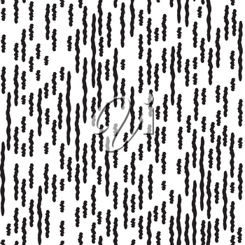 Abstract irregular striped line seamless pattern. Black and white geometric grunge texture. Ornamental background