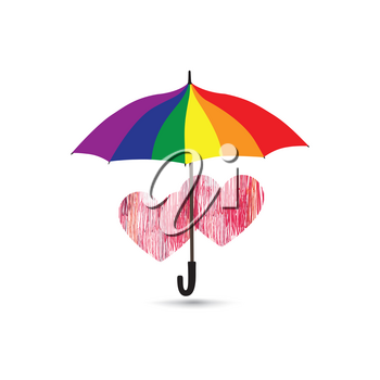 Love heart sign over rainbow colored umbrella. Two hearts in love icon isolated over white background