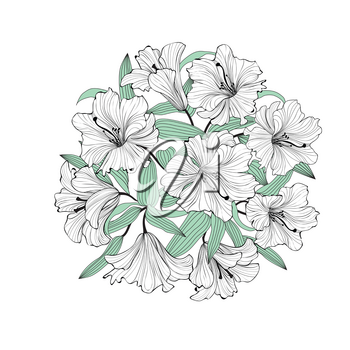 Flower lily bouquet isolated. Greetinng card background. Floral Spring garden pattern.