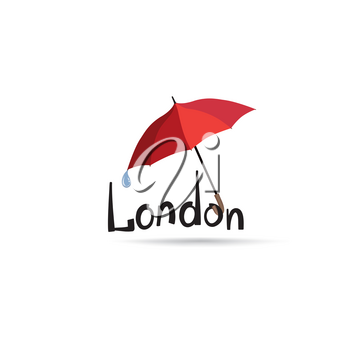 London sign with lettering London  and umbrella