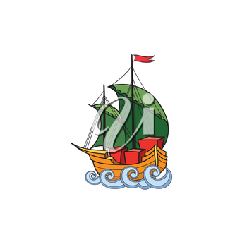 Sailing ship retro illustration. Ship transport cartoon. Marine sign