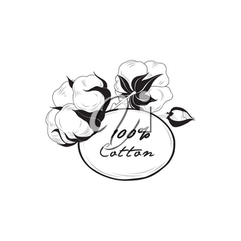 Cotton label. Natural material sign with flower cotton. Hand drawn floral frame