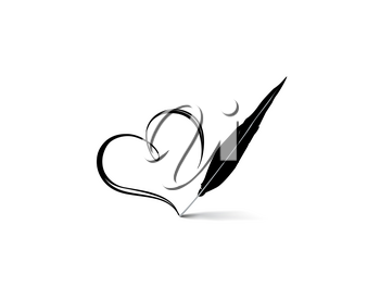 Love heart calligraphic hand drawn sign written by retro feather pen. Valentines day icon Holiday background. Greeting card design