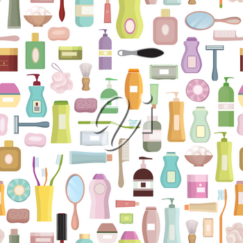 Beauty care related set background. Hygiene symbol seamless pattern. Bath supplies, shower, tooth care, brushes, towel and razors.