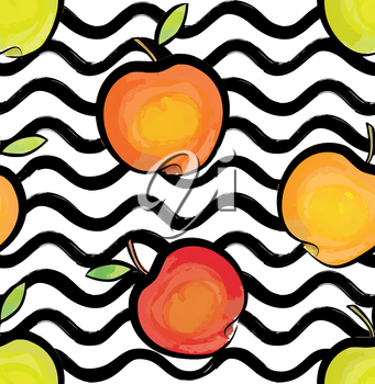 Abstract wave seamless pattern with apple. Stylish geometric background. Fruit ornamental wallpaper. Tropical food stripe texture
