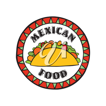 Mexican food symbol. Traditional cuisine set. Mexican dish doodles sign. Fastfood icon. Round shape sign. Fastfood icon.