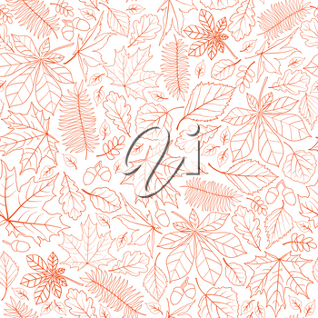 Fall leaf nature seamless pattern. Autumn leaves background. Season floral icon wallpaper