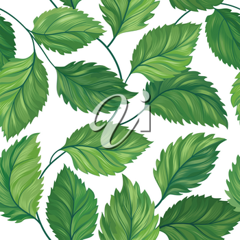 Floral green leaf seamless pattern. Leaves background. Summer flourish nature backdrop