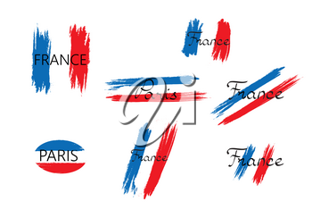 French flag with handwritten lettering France brush stroked national country design element