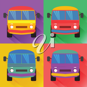 Set of colored minivan in the flat style.