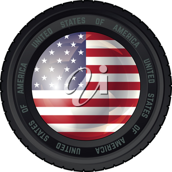 Camera Lens with United States of America Flag. Vector design.