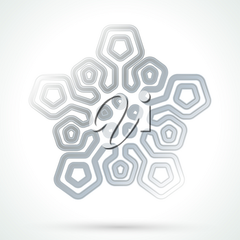 Silver snowflake icon. Abstract winter symbol. Decorative element for brochure, flyer, greeting card. Vector illustration.