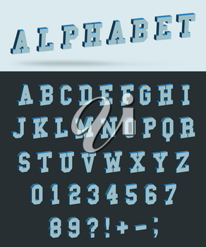 Isometric alphabet font with 3d effect letters and numbers. Vector illustration.