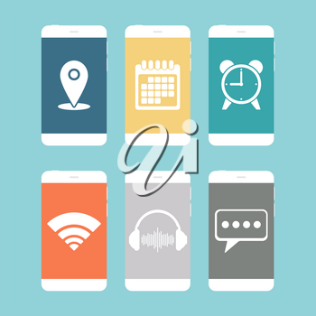 Smartphones with various icon flat design. Vector illustration.