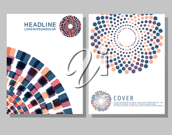 Brochures design template. Cover brochure, flyer, business card layout. Set abstract design cover template for blank, print, journal, presentation, book. Vector illustration