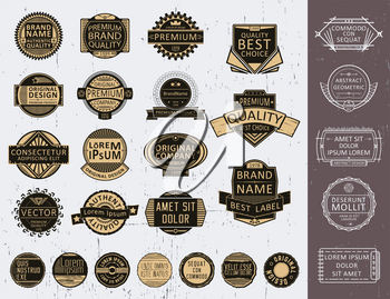 Set of insignias, logotypes, seals, stamps, labels and badges. Retro vintage design elements. Vector illustration