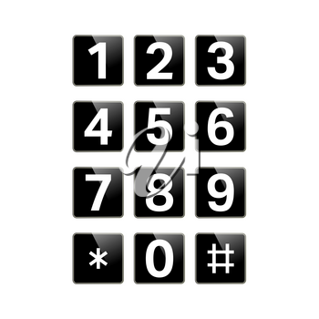 Digital keypad isolated on white background. Button with numbers for phone, user interface, security lock control panel. Telephone button. Vector illustration.