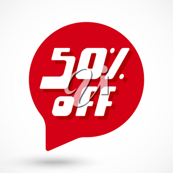 50 percent Off discount sticker template. Special offer sale red tag. Vector Illustration.
