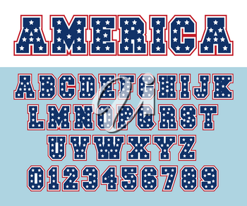 Alphabet font template. Letters and numbers USA star design. Vector illustration.