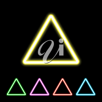 Colorful neon triangle sign. Glowing colored triangles set. Vector illustration.