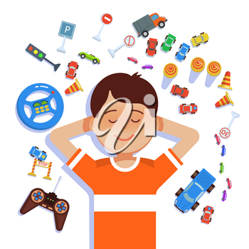 Little happy boy is a top view with colorful toys cars and road signs on white background. Vector ilustration kid dreaming of becoming a driver flat style. Learning rules of the road concept