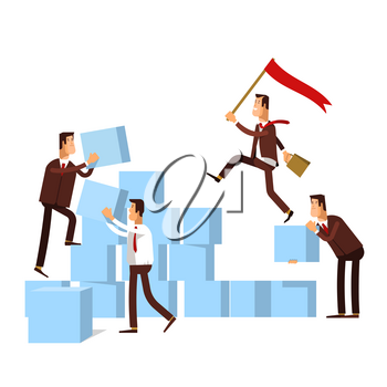 Teamwork - concept business illustration. Business team builds a stairs to success. Business strategy, achievement, leadership.