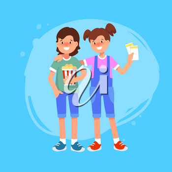 Vector flat illustration of happy couple friends kid with ticket and bucket of popcorn go to cinema. Going to the movies.
