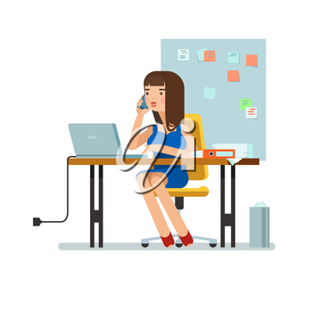 Vector illustration of secretary sitting at the table, working workplace with office papers, laptop, talks on phone in isolated. Design concept of the secretary or administrator in office workplace