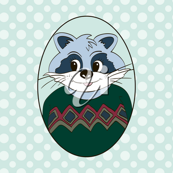 Raccoon in green jersey. Picture for clothes, cards, children's books