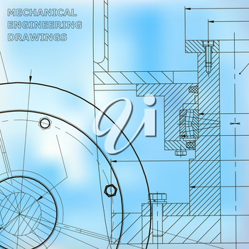 Backgrounds of engineering subjects. Technical illustration. Mechanical engineering. Blue