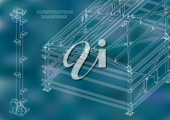 Building. Metal constructions. Volumetric constructions. 3D design. Abstract Cover, banner. Blue