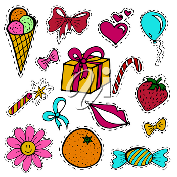 A set of fashion labels, badges. Ice cream, flower, candy, ribbons, balloons. Vector figures on a white background. Every object on a separate layer. Stickers, pins, patches, cartoon and comic style