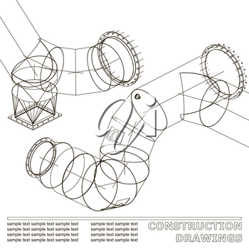 Drawings of steel structures. Pipes and pipe. 3d blueprint of steel structures. Background for your design. White
