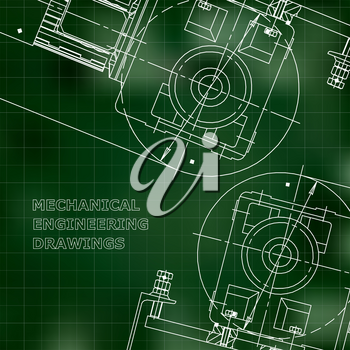 Mechanical engineering the drawing. Technical illustrations. The drawing for technical design. Cover, banner. Green. Grid