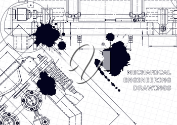 Technical abstract backgrounds. Vector engineering drawings. Black Ink. Blots. Technical