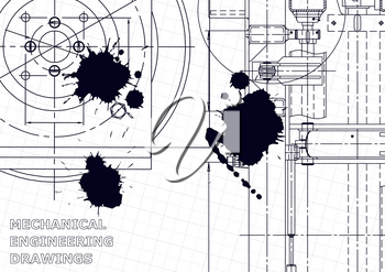 Vector engineering illustration. Computer aided design systems. Instrument-making drawings. Mechanical engineering drawing. Black Ink. Blots