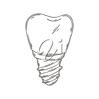 Contour Medical icon. Vector illustration in hand draw style. Image isolated on white background. Medical instrument. Denture
