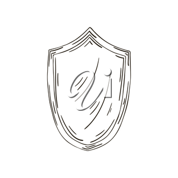 Contour Vector icon in hand draw style. Image isolated on white background. Protection. Shield