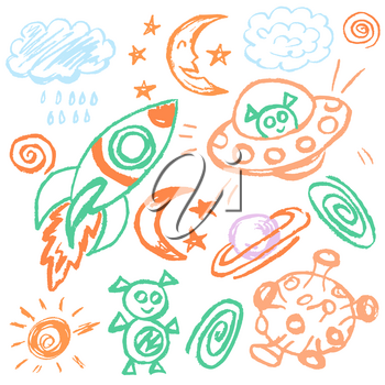 Cute childish drawing with wax crayons on a white background. Pastel chalk or pencil funny doodle style vector. Outer space, ufo, rocket, moon