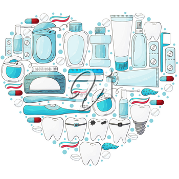 Heart set of design elements. Set of elements for the care of the oral cavity in hand draw style. Teeth cleaning, dental health. Teeth, floss, brush, paste
