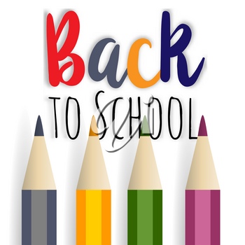 background image for students welcome back to the school. School supplies multicolored pencil. Positive impression