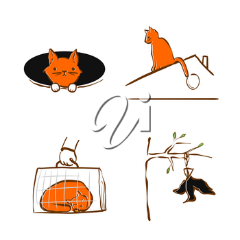 Vector illustration design for pet rescue service. The Cat fell into a hole, sleeping in pet carrier, sitting on roof. Set of pictograms - trouble with domestic cat. Care and help animal in trouble.