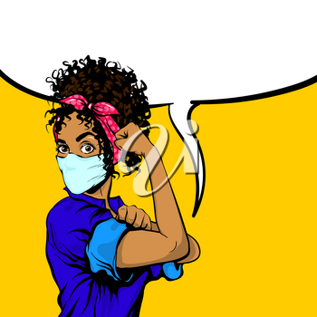 We Can Do It black african woman in medical mask retro poster. Cartoon vintage girl with pink bow in pop art style. Empty speech bubble for text. Black pop art woman isolated on yellow background.